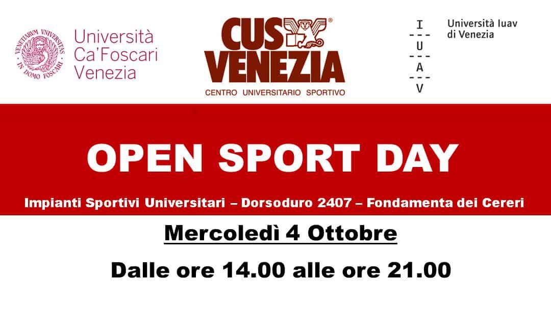 Open Sport Day – Mercoledì 4 Ottobre