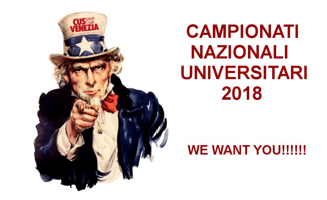 CAMPIONATI NAZIONALI UNIVERSITARI 2018: CERCASI ASPIRANTI CAMPIONI TRICOLORI