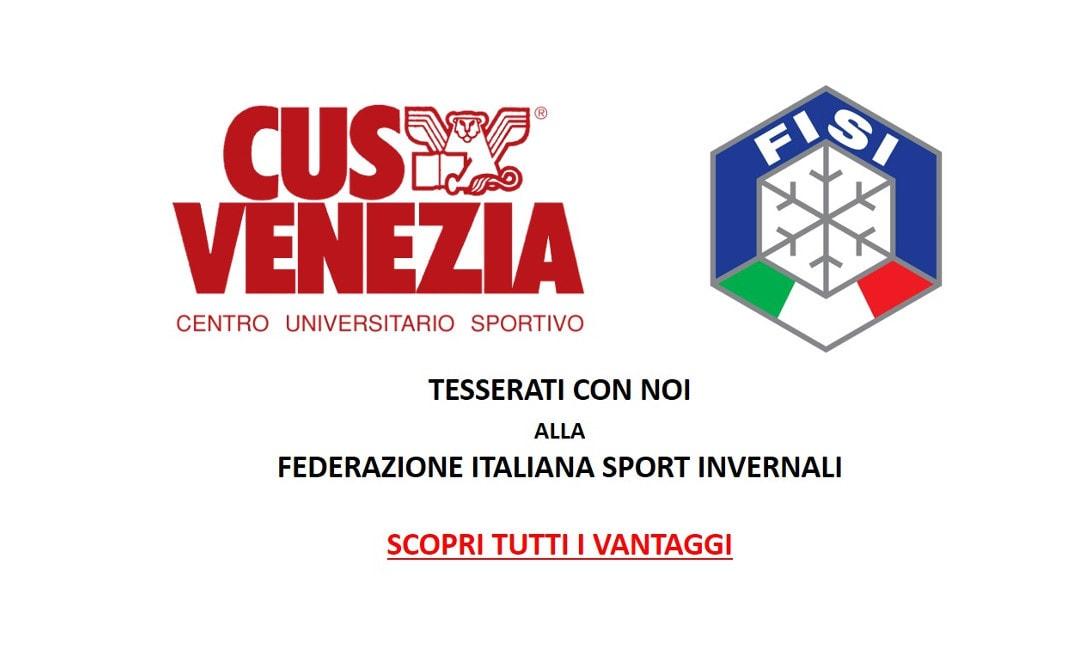 Ami sciare? Tesserati alla FISI con il CUS Venezia e scopri tutti i vantaggi!!!!